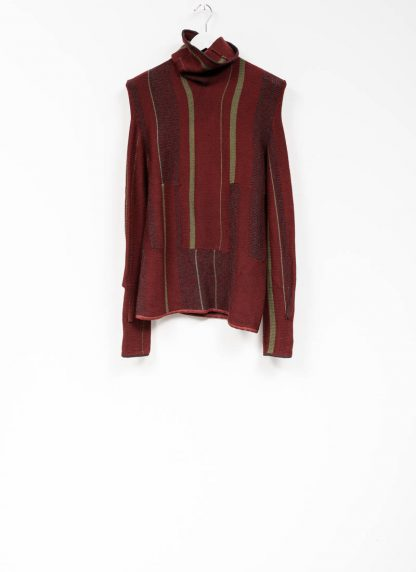 Andrea Cortella M4W1920 women sweater long horizontal processing knit turtel neck dark red wool cashmere silk angora hide m 2