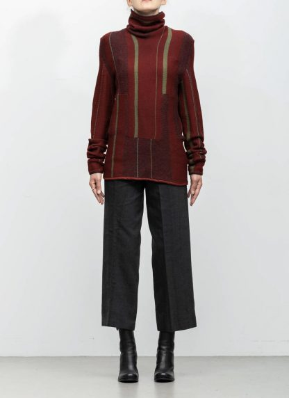 Andrea Cortella M4W1920 women sweater long horizontal processing knit turtel neck dark red wool cashmere silk angora hide m 3