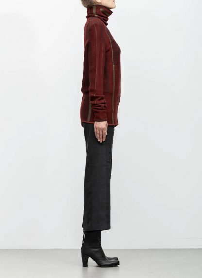 Andrea Cortella M4W1920 women sweater long horizontal processing knit turtel neck dark red wool cashmere silk angora hide m 4