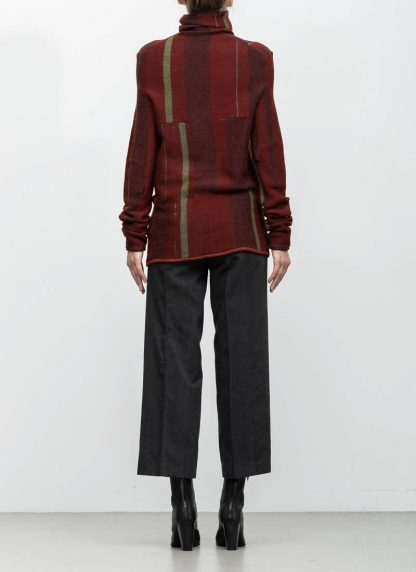 Andrea Cortella M4W1920 women sweater long horizontal processing knit turtel neck dark red wool cashmere silk angora hide m 5