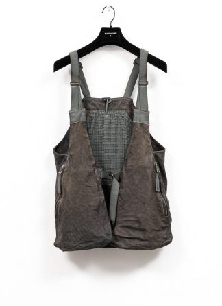 BORIS BIDJAN SABERI brutalism vest VEST2 veg tan horse leather FMM20020 dark grey hide m 2