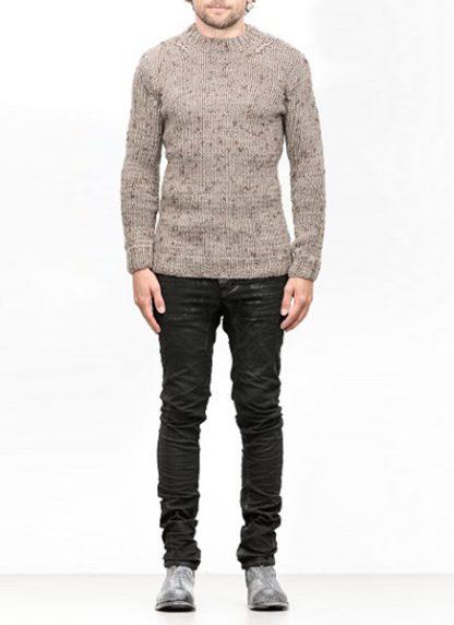 Boris Bidjan Saberi FW1819 hand knitted sweater KN7 merino wool mud grey hide m 2