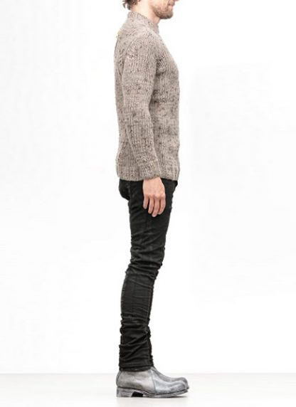 Boris Bidjan Saberi FW1819 hand knitted sweater KN7 merino wool mud grey hide m 3