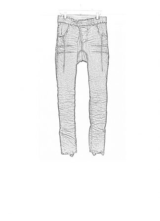 Boris Bidjan Saberi FW1819 pants P13HS tight fit fully hand stiched cotton pu dark grey hide m 1