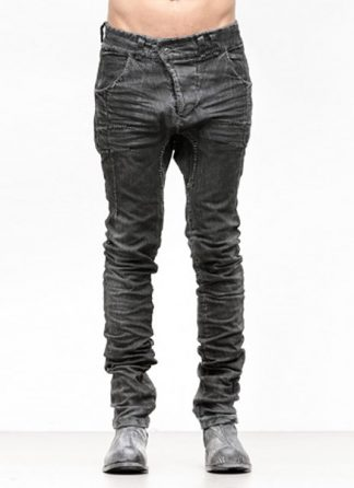 Boris Bidjan Saberi FW1819 pants P13HS tight fit fully hand stiched cotton pu dark grey hide m 2
