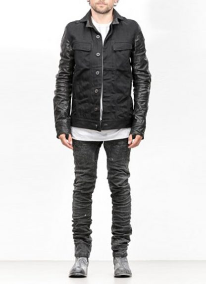 Boris Bidjan Saberi jacket TEJANA1 black cotton horse leather FW1819 hide m 2