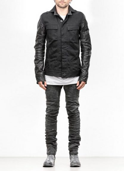 Boris Bidjan Saberi jacket TEJANA1 black cotton horse leather FW1819 hide m 3