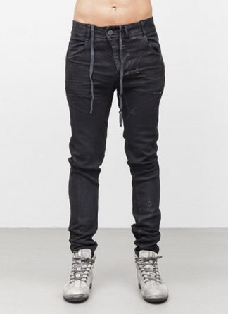 Boris Bidjan Saberi men pants P13 tight fit FW1718 co pu F1603K black hide m 2