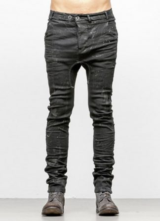 Boris Bidjan Saberi men pants P14 cotton pu F1504K black FW18 hide m 2