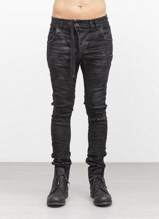 Boris Bidjan Saberi pants P13HS tight fit fully hand stiched cotton pu FW1718 black hide m 2