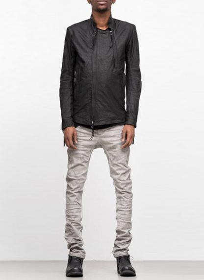 Boris Bidjan Saberi ss19 men jacket J5 cow calf leather F2401M black hide m 3