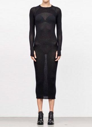 Boris Bidjan Saberi women knitted dress WKNDRESS1 cashmere F340 black FW18 hide m 2