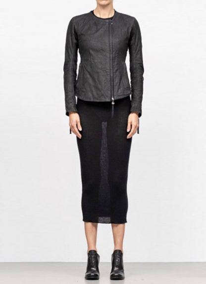 Boris Bidjan Saberi women zip leather jacket WJ2 washed calf F2510M black FW18 hide m 3