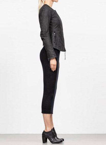 Boris Bidjan Saberi women zip leather jacket WJ2 washed calf F2510M black FW18 hide m 4