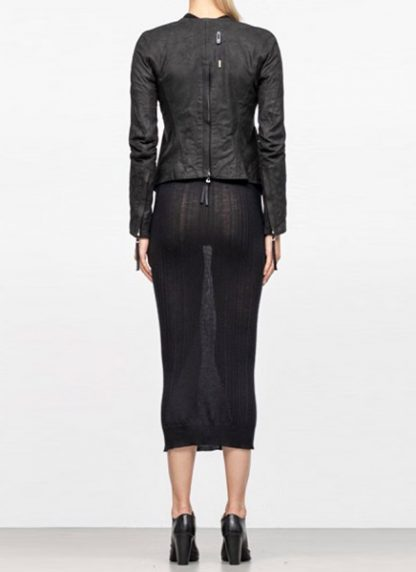 Boris Bidjan Saberi women zip leather jacket WJ2 washed calf F2510M black FW18 hide m 5