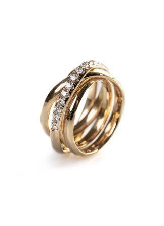 CHIN TEO cage ring mini 18k yellow gold white diamond hide m 1