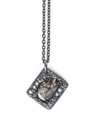 CHIN TEO omega neo diamond slice necklace sterling silver diamond hide m 1