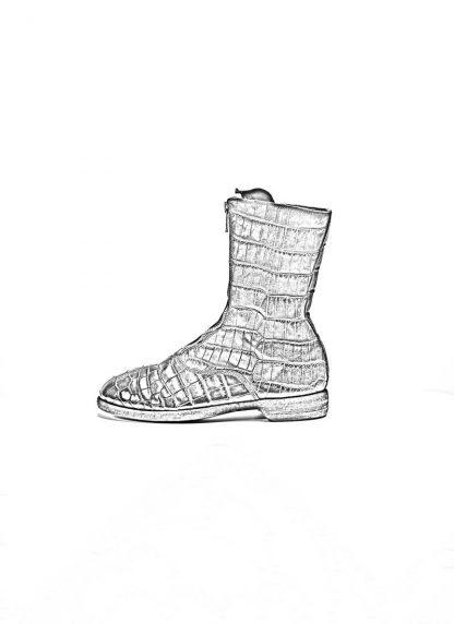 Guidi women front zip army boot schuh stiefel 310 crocodile leather black hide m 1