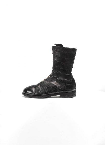 Guidi women front zip army boot schuh stiefel 310 crocodile leather black hide m 2