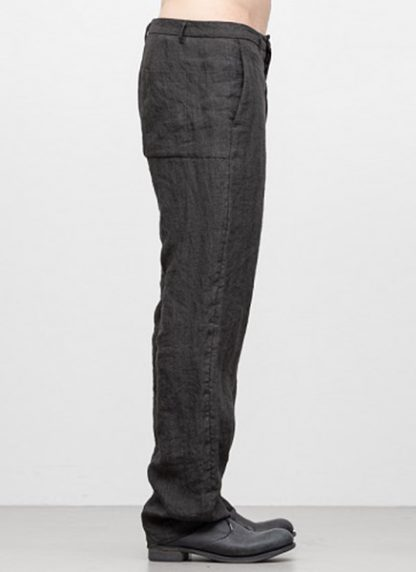 Individual Sentiments men box pocket pants ss18 dark grey linen hide m 3