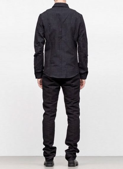 Individual Sentiments men classic basic button down shirt sh21 cli21 linen cotton wo ry ny black fw18 hide m 4