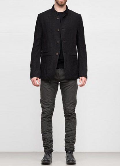 Individual Sentiments ss19 men button down blazer jacket rayon linen black hide m 2
