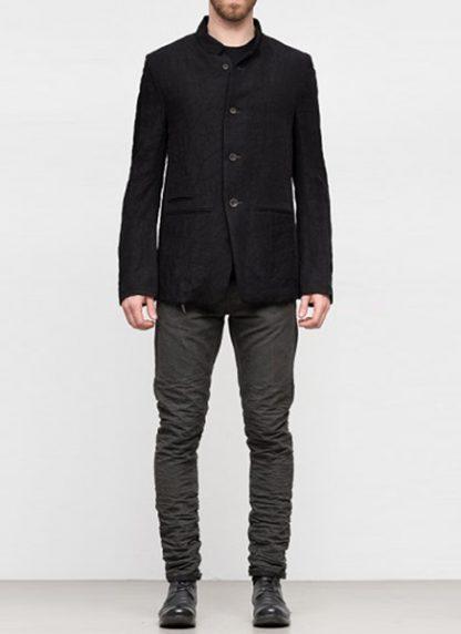 Individual Sentiments ss19 men button down blazer jacket rayon linen black hide m 3