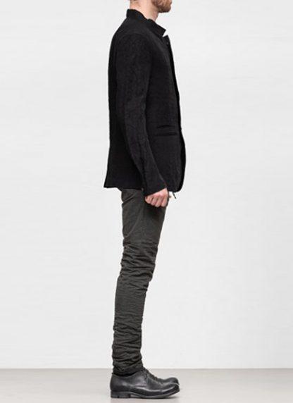 Individual Sentiments ss19 men button down blazer jacket rayon linen black hide m 4