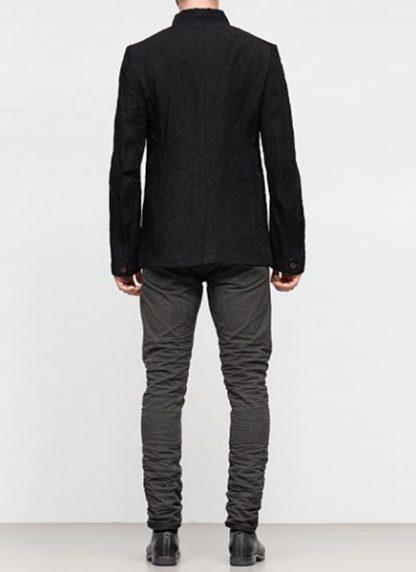 Individual Sentiments ss19 men button down blazer jacket rayon linen black hide m 5