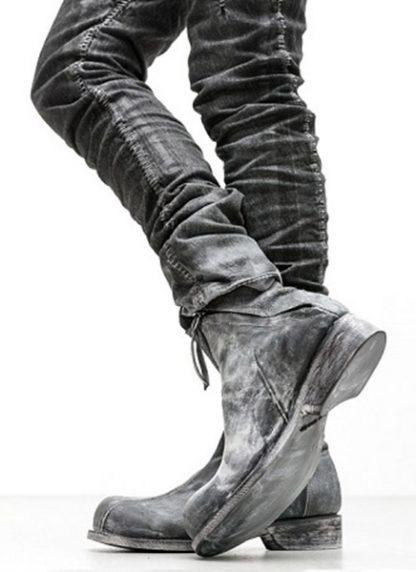 LEON EMANUEL BLANCK men distortion zip boot herren stiefel dis ab 01 horse rev leather grey hide m 8