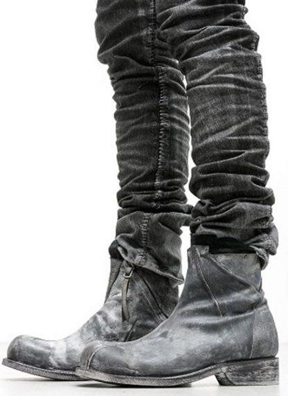 LEON EMANUEL BLANCK men distortion zip boot herren stiefel dis ab 01 horse rev leather grey hide m 9