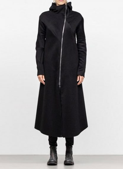 Leon Emanuel Blanck FW18 women distortion overundercoat coat angora wool cashmere black hide m 3