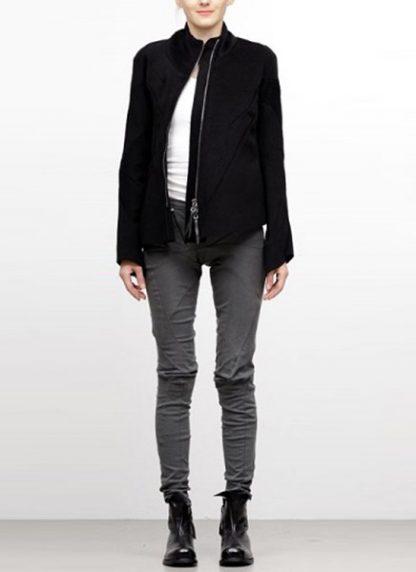 Leon Emanuel Blanck FW18 women distortion straight jacket angora wool cashmere black hide m 2