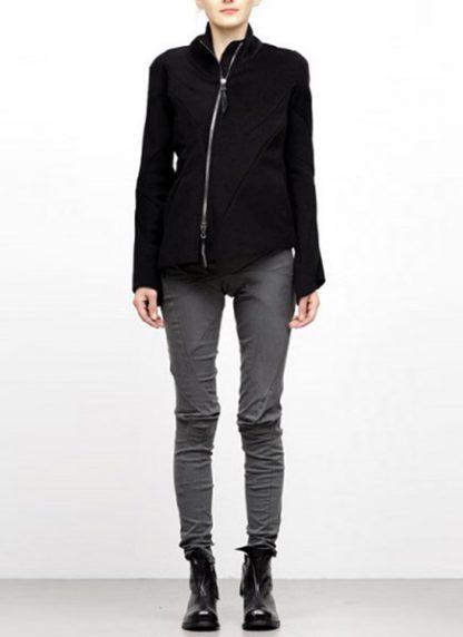 Leon Emanuel Blanck FW18 women distortion straight jacket angora wool cashmere black hide m 3