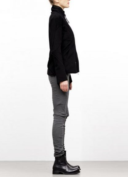 Leon Emanuel Blanck FW18 women distortion straight jacket angora wool cashmere black hide m 4