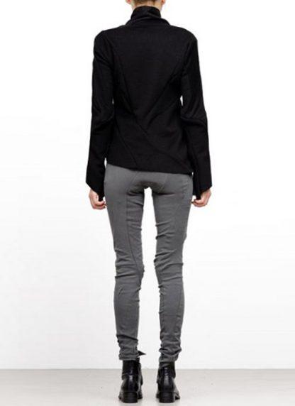 Leon Emanuel Blanck FW18 women distortion straight jacket angora wool cashmere black hide m 5
