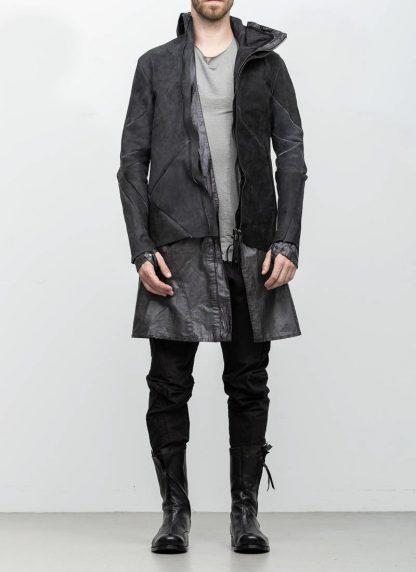 Leon Emanuel Blanck distortion men jacket LJ dark grey horse leather with removable extended coat exclusively hide m 3
