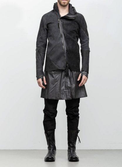 Leon Emanuel Blanck distortion men jacket LJ dark grey horse leather with removable extended coat exclusively hide m 4