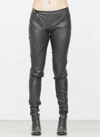 Leon Emanuel Blanck fw1718 women distortion fitted pants soft stretch lamb black hide m 2