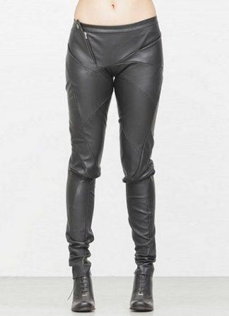 Leon Emanuel Blanck fw1718 women distortion fitted pants soft stretch lamb black hide m 2