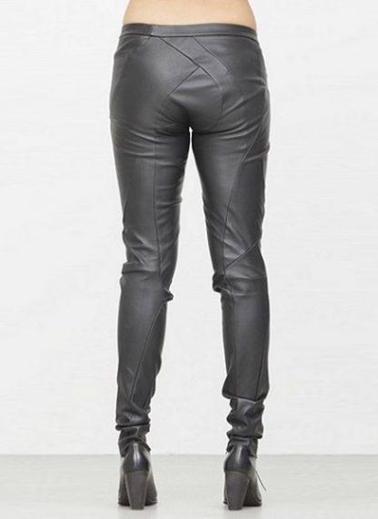 Leon Emanuel Blanck fw1718 women distortion fitted pants soft stretch lamb black hide m 4