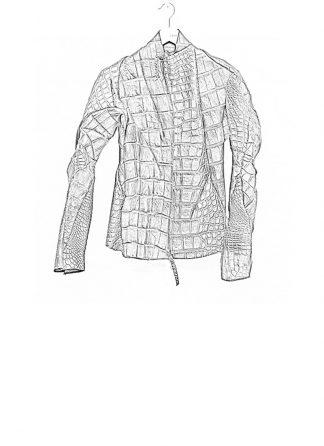 Leon Emanuel Blanck men distortion aviator leather jacket black wild alligator SS18 hide m 1