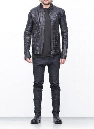 Leon Emanuel Blanck men distortion aviator leather jacket black wild alligator SS18 hide m 2