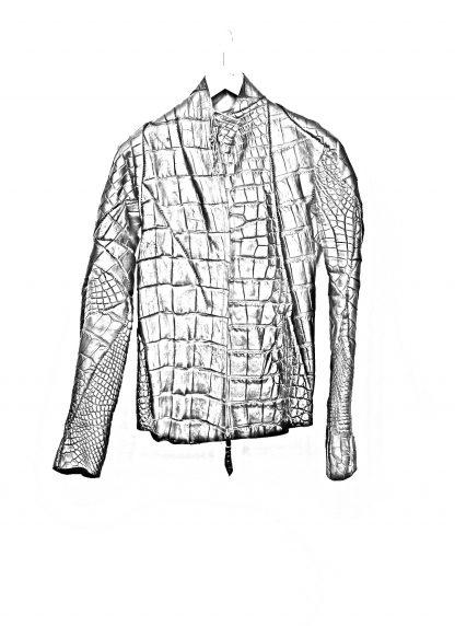 Leon Emanuel Blanck men distortion aviator leather jacket lined wild alligator leather black hide m 1