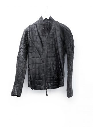 Leon Emanuel Blanck men distortion aviator leather jacket lined wild alligator leather black hide m 2