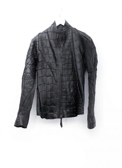 Leon Emanuel Blanck men distortion aviator leather jacket lined wild alligator leather black hide m 2