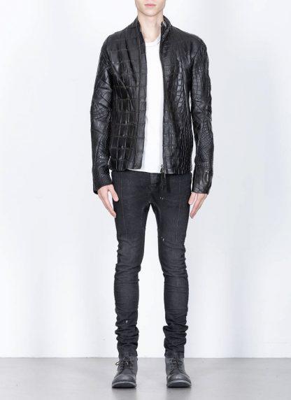 Leon Emanuel Blanck men distortion aviator leather jacket lined wild alligator leather black hide m 3