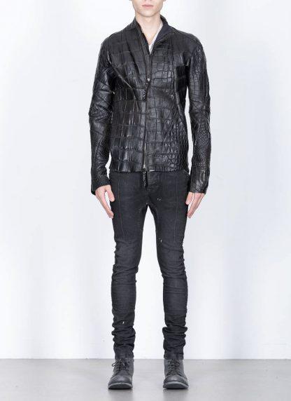 Leon Emanuel Blanck men distortion aviator leather jacket lined wild alligator leather black hide m 4