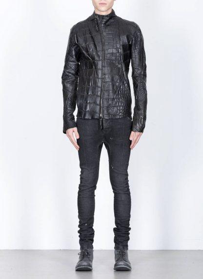 Leon Emanuel Blanck men distortion aviator leather jacket lined wild alligator leather black hide m 5