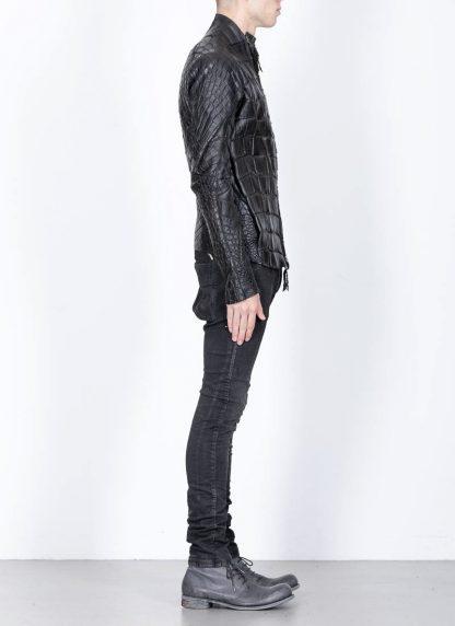 Leon Emanuel Blanck men distortion aviator leather jacket lined wild alligator leather black hide m 6